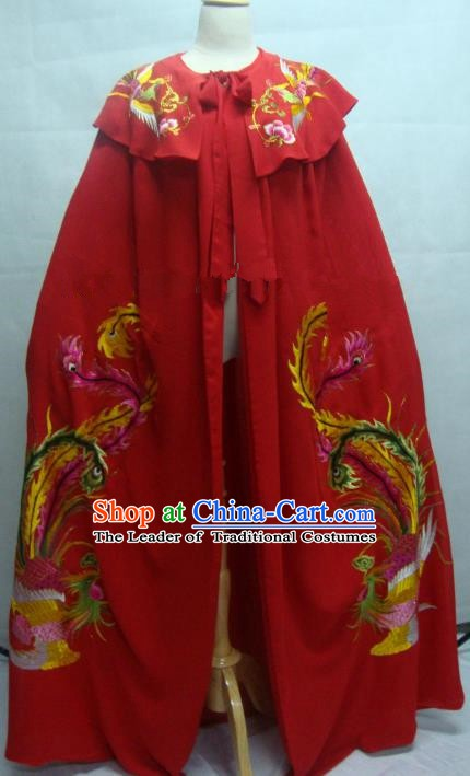 China Traditional Beijing Opera Embroidered Red Cloak Chinese Peking Opera Actress Costume