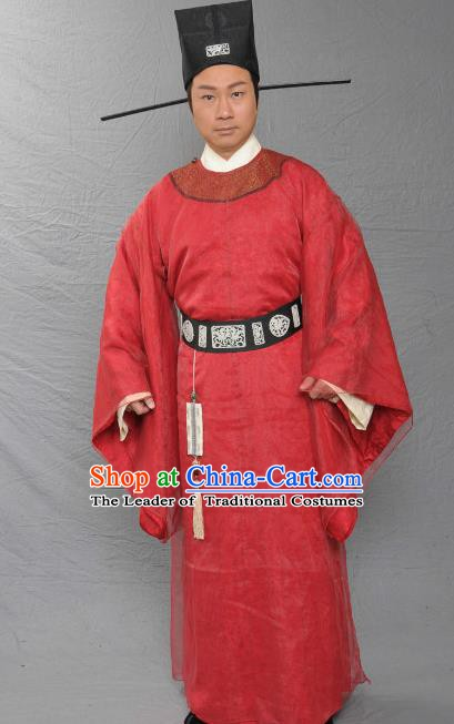 Ancient Chinese Song Dynasty Crown Prince Grand Preceptor Yu Jing Replica Costume for Men