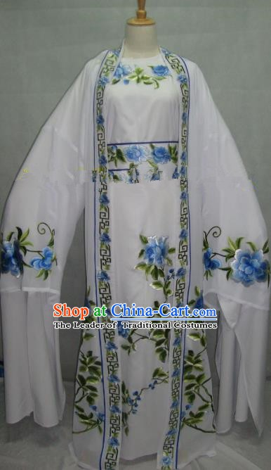 China Beijing Opera Niche Embroidered Peony White Clothing Chinese Traditional Peking Opera Scholar Costume for Adults