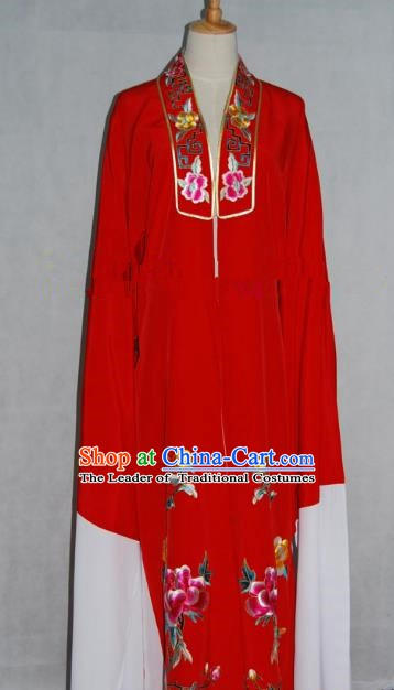China Beijing Opera Niche Embroidered Peony Red Cape Chinese Traditional Peking Opera Scholar Costume for Adults