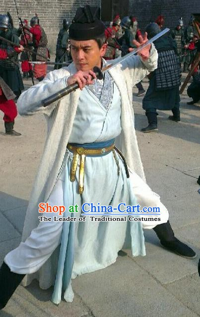 Traditional Chinese Tang Dynasty Swordsman Detective Di Renjie Replica Costume for Men