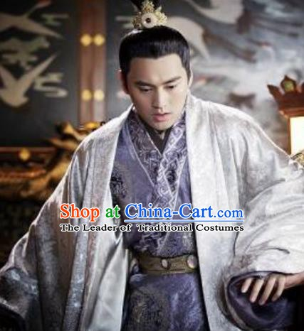 Traditional Chinese Tang Dynasty Gao Emperor Li Zhi Embroidered Replica Costume for Men