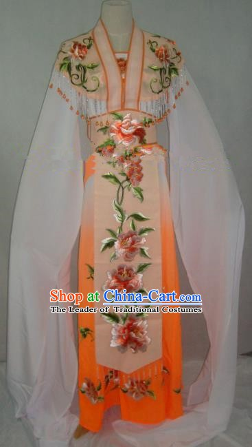 Traditional China Beijing Opera Embroidered Peony Orange Dress Chinese Peking Opera Diva Costume