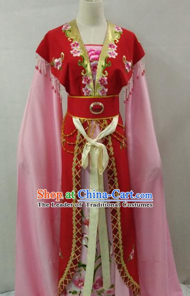 Traditional China Beijing Opera Young Lady Embroidered Red Dress Chinese Peking Opera Diva Costume