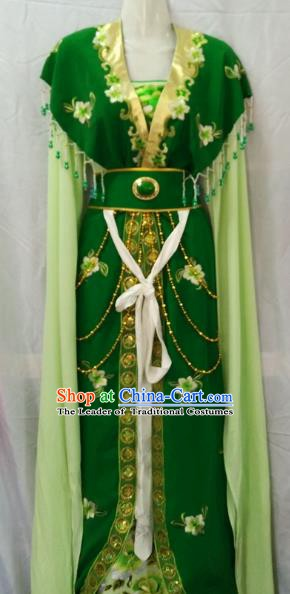 Traditional China Beijing Opera Young Lady Embroidered Green Dress Chinese Peking Opera Diva Costume