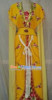 Traditional China Beijing Opera Young Lady Embroidered Yellow Dress Chinese Peking Opera Diva Costume