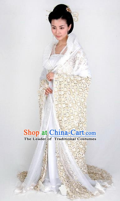 Chinese Traditional Tang Dynasty Imperial Consort Mullet Dress Embroidered Replica Costume for Women