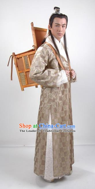 Traditional Chinese Tang Dynasty Scholar Hanfu Replica Costume for Men