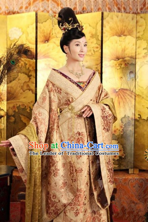Chinese Traditional Tang Dynasty Princess Tai Ping Palace Replica Costume for Women