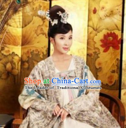 Chinese Ancient Tang Dynasty Embroidered Dress Princess Taiping Replica Costume for Women