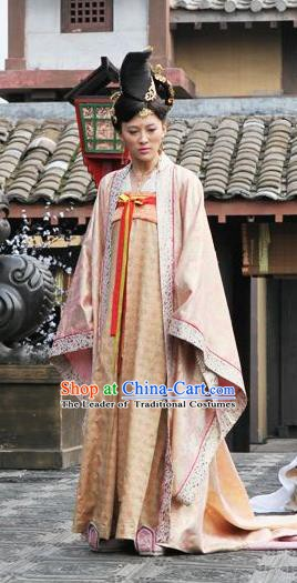 Chinese Ancient Tang Dynasty Embroidered Dress Princess An Le Replica Costume for Women