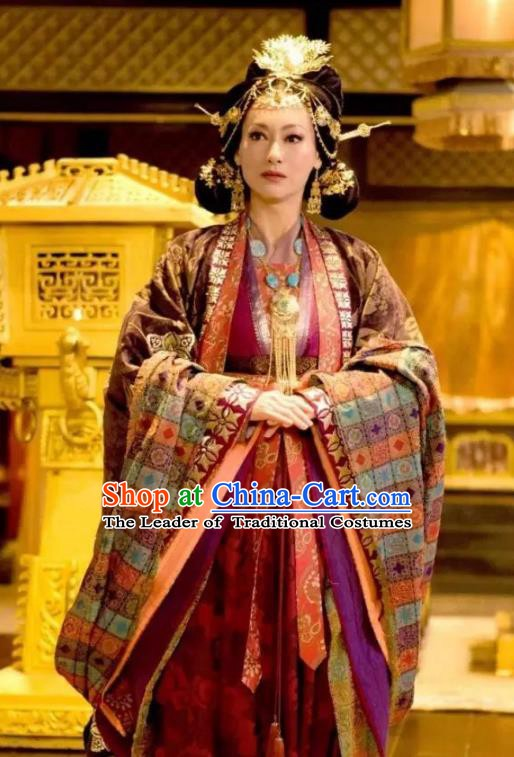 Chinese Ancient Tang Dynasty Queen Embroidered Dress Empress Wu Zetian Replica Costume for Women