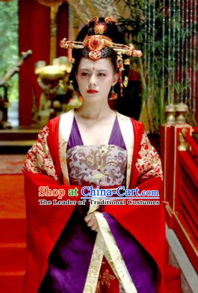 Chinese Ancient Tang Dynasty Wu Zetian Embroidered Dress Empress Replica Costume for Women