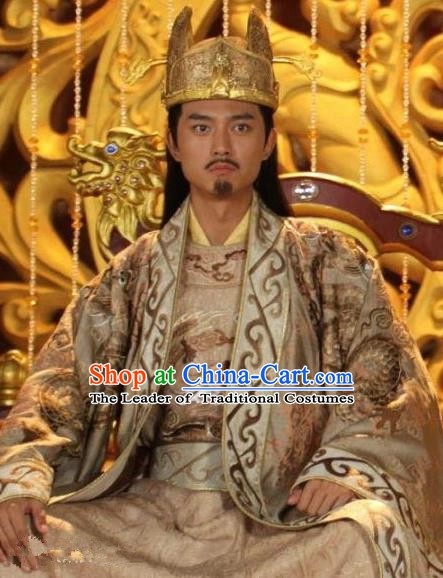 Chinese Ancient Emperor Tang Dynasty Imperator Li Xian Embroidered Replica Costume for Men