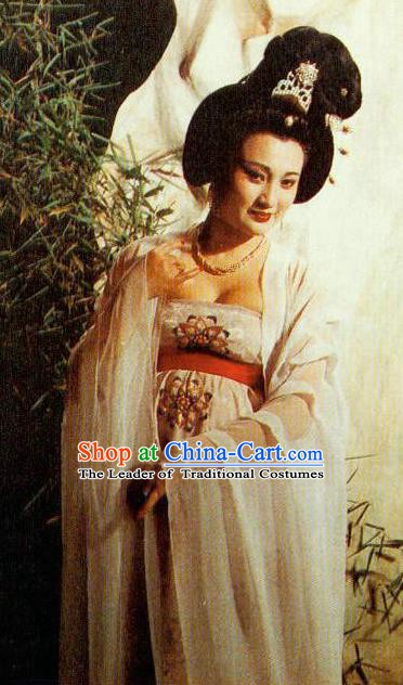 Chinese Tang Dynasty Imperial Consort Yang Embroidered Hanfu Dress Ancient Palace Lady Replica Costume for Women