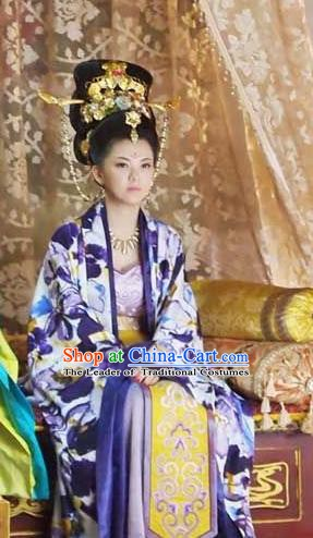 Ancient Chinese Tang Dynasty Empress Wu Zetian Hanfu Dress Queen Replica Costume for Women