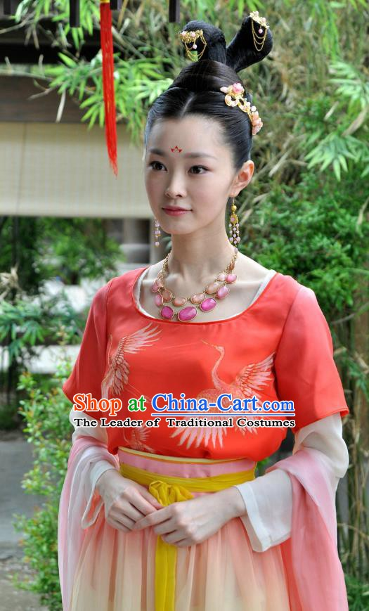 Chinese Ancient Tang Dynasty Princess Embroidered Dress Replica Costume for Women