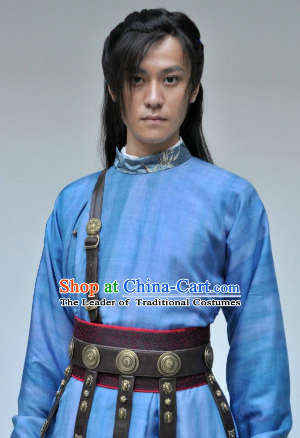 Traditional Chinese Tang Dynasty Swordsman Imperial Bodyguard Replica Costume for Men