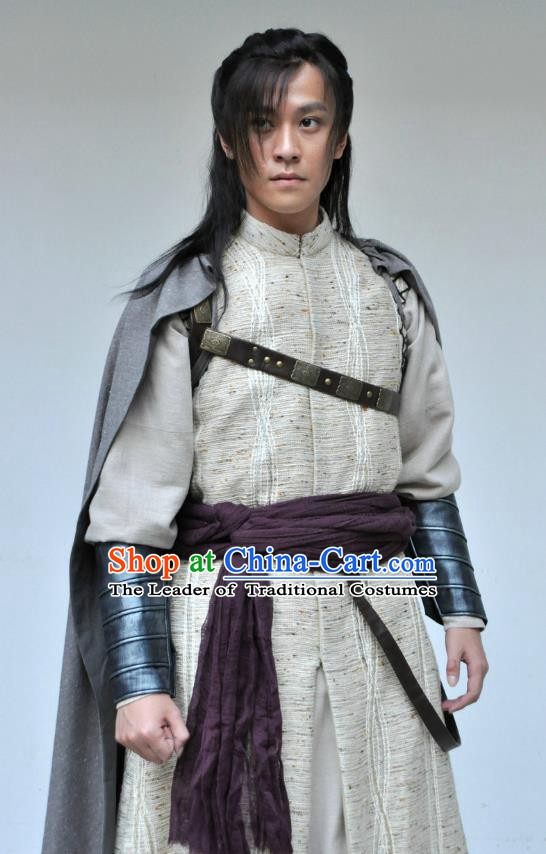 Traditional Chinese Tang Dynasty Swordsman Clothing Knight Replica Costume for Men