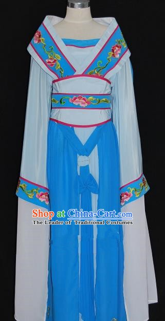 Traditional Chinese Beijing Opera Imperial Consort Blue Dress Peking Opera Diva Embroidered Costume