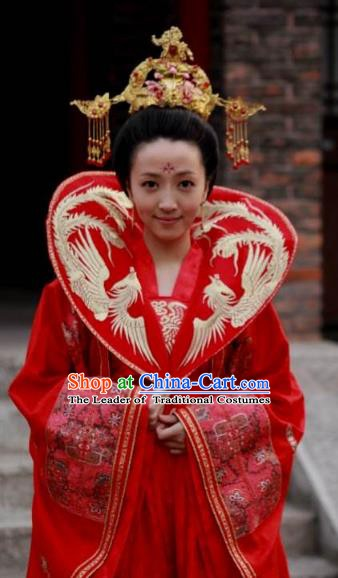 Ancient Chinese Tang Dynasty Princess Embroidered Hanfu Wedding Dress Replica Costume for Women