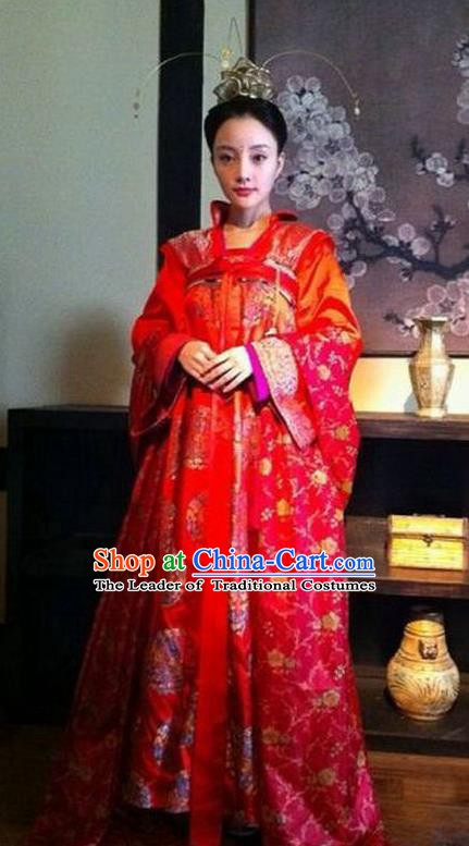 Chinese Tang Dynasty Historical Costume Ancient Imperial Consort Wedding Dress Replica Costume for Women