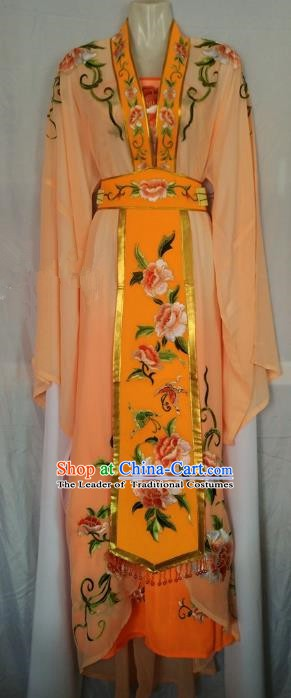 Traditional Chinese Beijing Opera Diva Embroidered Costume Peking Opera Young Lady Orange Dress