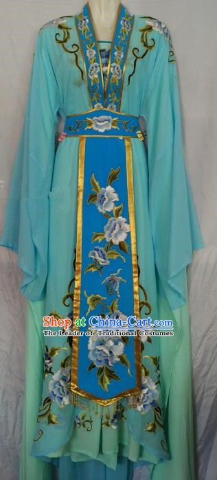 Traditional Chinese Beijing Opera Diva Embroidered Costume Peking Opera Young Lady Blue Dress
