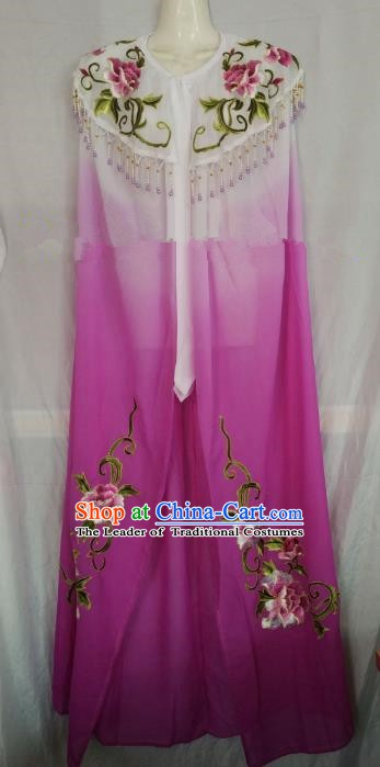 Traditional Chinese Beijing Opera Purple Embroidered Cloak Professional Peking Opera Diva Clothing