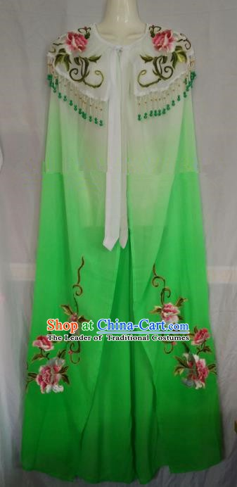 Traditional Chinese Beijing Opera Green Embroidered Cloak Professional Peking Opera Diva Clothing