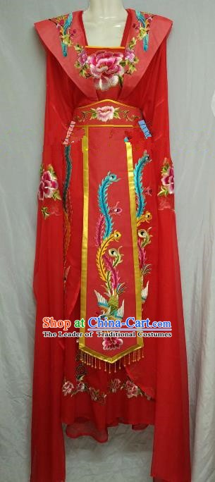 Traditional Chinese Beijing Opera Diva Embroidered Costume Professional Peking Opera Princess Red Clothing
