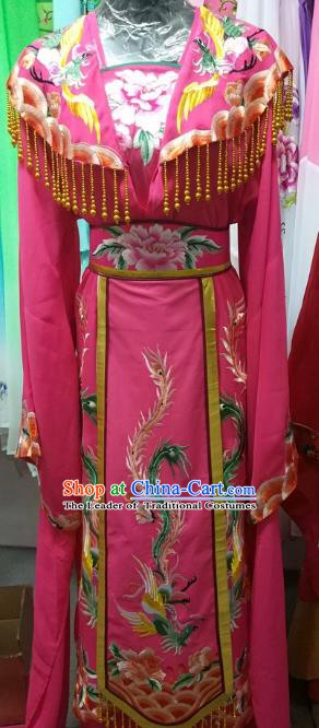 Top Grade Chinese Beijing Opera Actress Empress Embroidered Rosy Dress China Peking Opera Palace Lady Costume