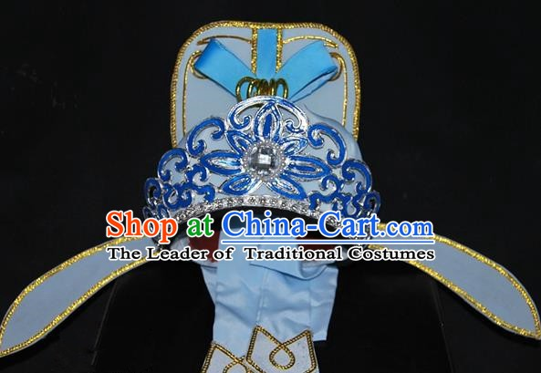 China Traditional Beijing Opera Young Men Headwear Chinese Peking Opera Niche Blue Hats for Men
