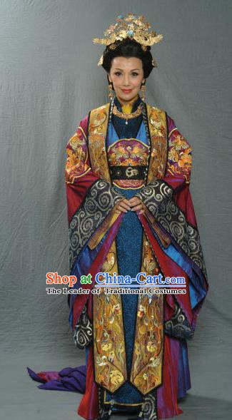 Chinese Ancient Song Dynasty Empress Dowager Embroidered Historical Costume and Headpiece Complete Set for Women