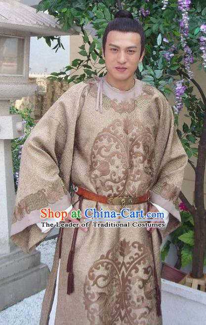 Traditional Chinese Ancient Tang Dynasty Crown Prince Li Jiancheng Replica Costume for Men
