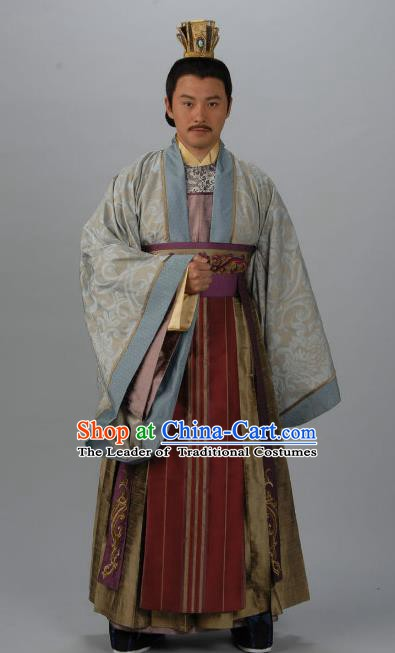 Chinese Ancient Tang Dynasty Emperor Zhongzong Li Xian Replica Costume for Men