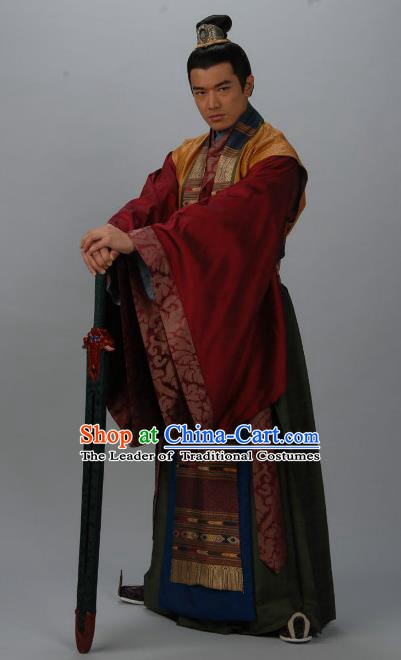 Chinese Ancient Tang Dynasty Nobility Childe Minister Wu Yanming Replica Costume for Men