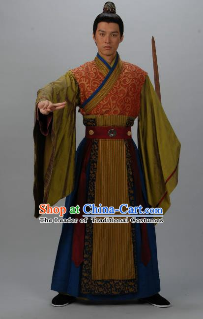Chinese Ancient Tang Dynasty Nobility Childe Swordsman Replica Costume for Men