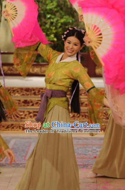 Chinese Ancient Tang Dynasty Brothel Courtesan Dance Hanfu Dress Historical Costume for Women