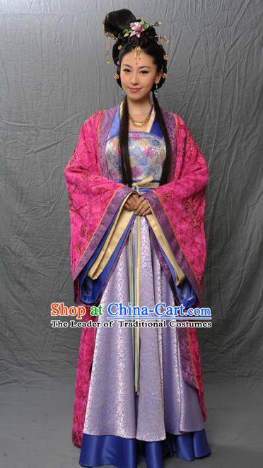 Chinese Ancient Tang Dynasty Imperial Concubine Embroidered Hanfu Dress Historical Costume for Women