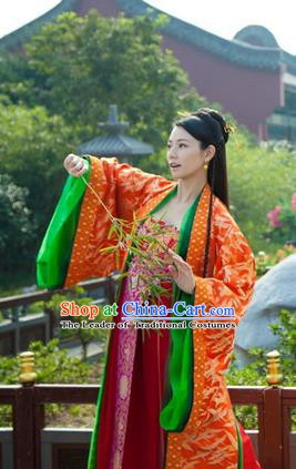 Chinese Ancient Tang Dynasty Nobility Lady Embroidered Dress Historical Costume for Women