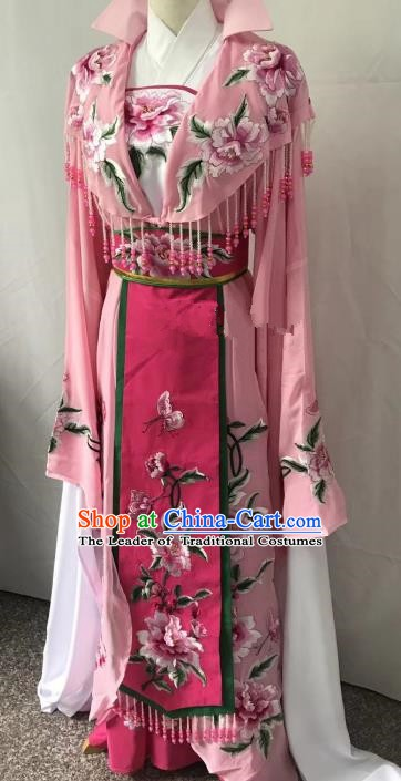 Top Grade Chinese Beijing Opera Actress Pink Dress China Peking Opera Diva Embroidered Costume