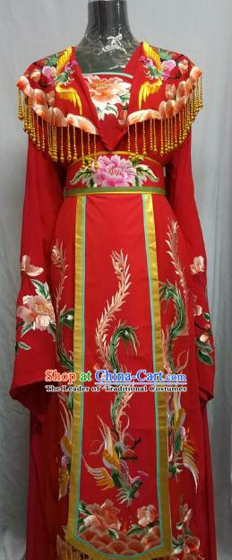 Top Grade Chinese Beijing Opera Diva Water Sleeve Red Dress China Peking Opera Empress Embroidered Costume