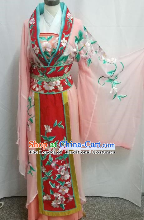 Top Grade Chinese Beijing Opera Diva Pink Dress China Peking Opera Princess Embroidered Costume