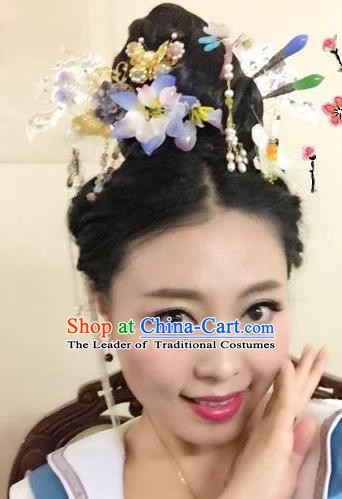 Chinese Ancient Hair Accessories Bride Wedding Tassel Hairpins Headwear Complete Set for Women