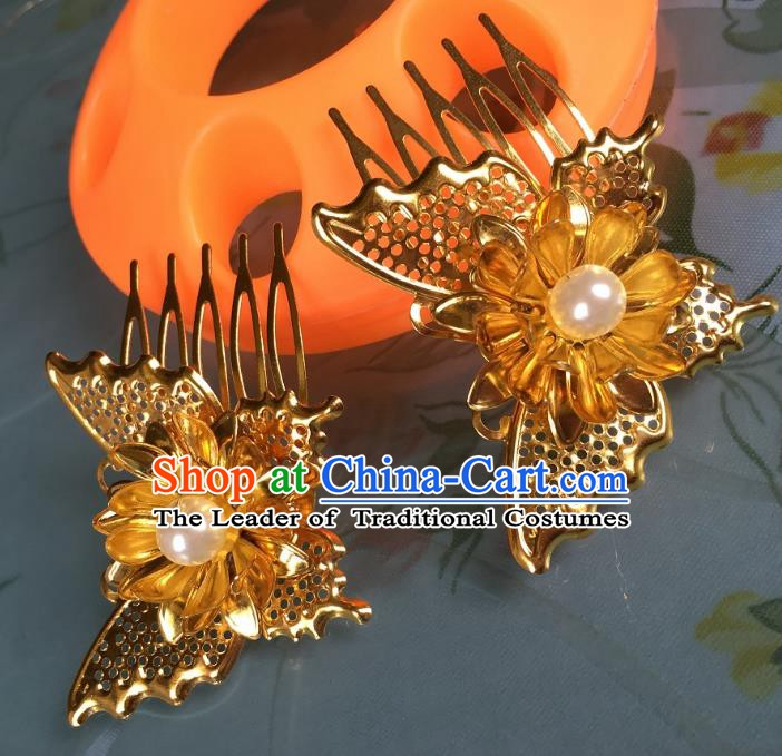 Chinese Ancient Palace Lady Hair Accessories Hairpins Golden Butterfly Hair Comb for Women