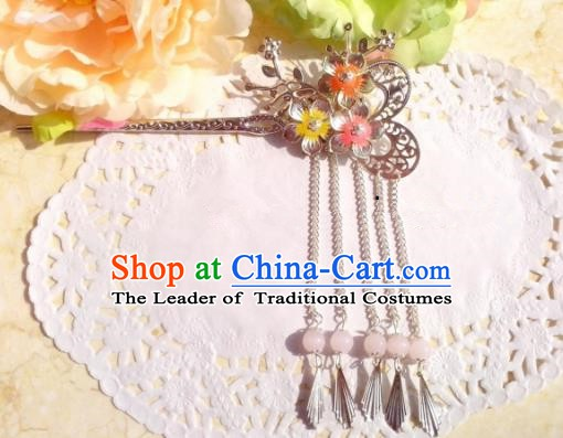Chinese Ancient Hair Accessories Hanfu Hairpins Butterfly Tassel Step Shake for Women