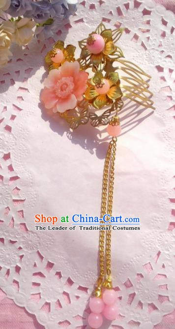 Chinese Ancient Princess Hair Accessories Pink Flowers Tassel Hair Comb Hairpins for Women