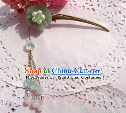 Chinese Ancient Princess Hair Accessories Tassel Hair Clip Green Flowers Hairpins for Women