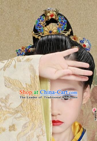 Chinese Ancient Imperial Consort Hair Accessories Cloisonn Phoenix Coronet Hairpins Complete Set for Women